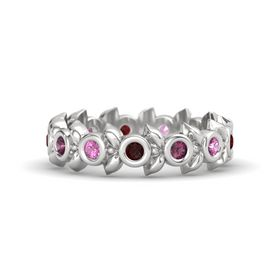 Round Rhodolite Garnet Sterling Silver Ring with Pink Sapphire and Red Garnet