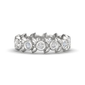 Round White Sapphire Sterling Silver Ring with Diamond and White Sapphire