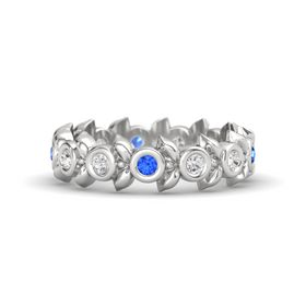 Round White Sapphire Sterling Silver Ring with White Sapphire and Blue Sapphire