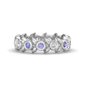 Round White Sapphire Sterling Silver Ring with Tanzanite