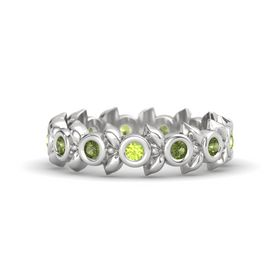 Round Green Tourmaline Sterling Silver Ring with Green Tourmaline and Peridot