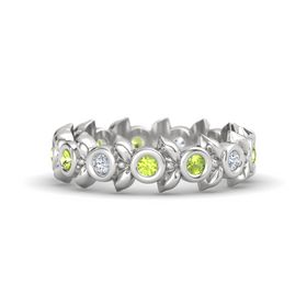 Round Peridot Sterling Silver Ring with Diamond and Peridot