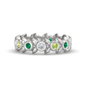 Round Peridot Sterling Silver Ring with Emerald and Diamond