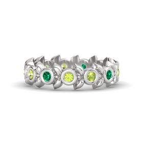 Round Peridot Sterling Silver Ring with Emerald & Peridot