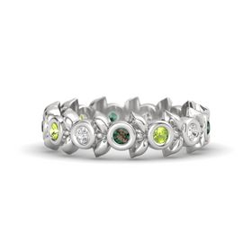 Round Peridot Sterling Silver Ring with White Sapphire and Alexandrite