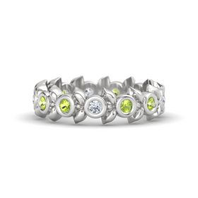 Round Peridot Sterling Silver Ring with Peridot and Diamond