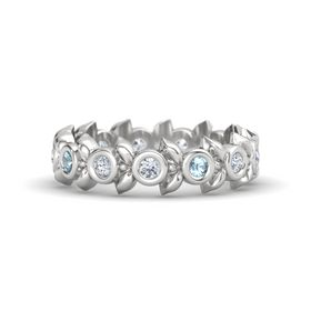 Round Aquamarine Sterling Silver Ring with Diamond