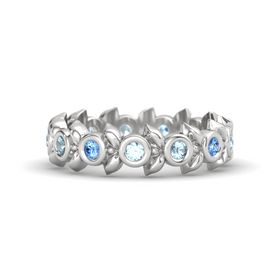 Round Aquamarine Sterling Silver Ring with Blue Topaz and Aquamarine