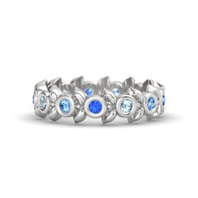 Round Aquamarine Sterling Silver Ring with Blue Topaz and Blue Sapphire