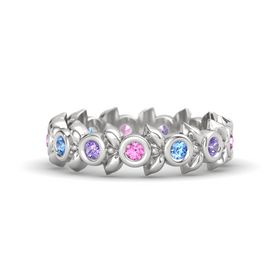 Round Blue Topaz Sterling Silver Ring with Iolite and Pink Sapphire