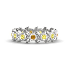 Round Yellow Sapphire Sterling Silver Ring with Yellow Sapphire and Citrine