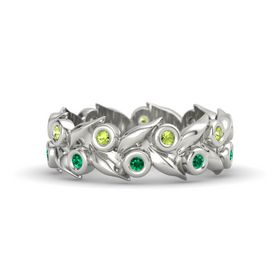 14K White Gold Ring with Emerald & Peridot