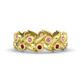 14K Yellow Gold Ring with Ruby and Pink Tourmaline