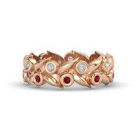 18K Rose Gold Ring with Ruby and Diamond