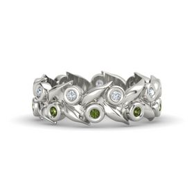 18K White Gold Ring with Green Tourmaline & Diamond