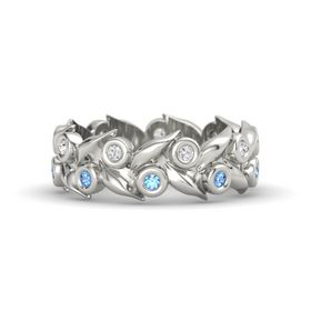 Palladium Ring with Blue Topaz & White Sapphire