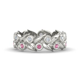Palladium Ring with Pink Tourmaline and Diamond