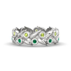 Sterling Silver Ring with Emerald & Peridot