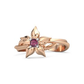 14K Rose Gold Ring with Rhodolite Garnet