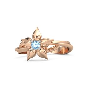 14K Rose Gold Ring with Blue Topaz