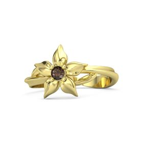 18K Yellow Gold Ring with Smoky Quartz