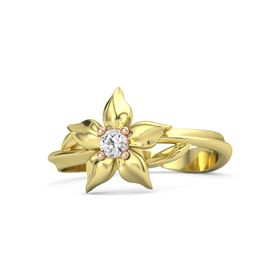 18K Yellow Gold Ring with White Sapphire