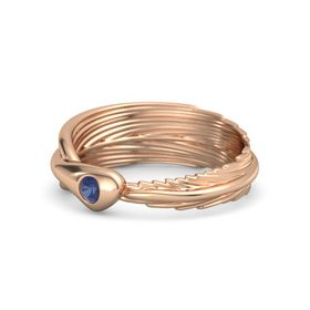 Round Blue Sapphire 14K Rose Gold Ring