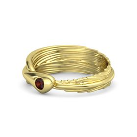 Round Red Garnet 14K Yellow Gold Ring