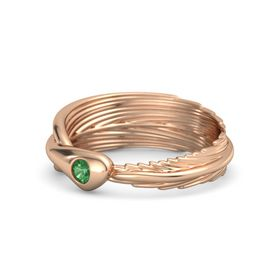 Round Emerald 18K Rose Gold Ring