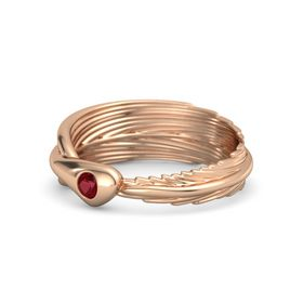 Round Ruby 18K Rose Gold Ring