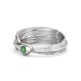 Round Emerald Sterling Silver Ring
