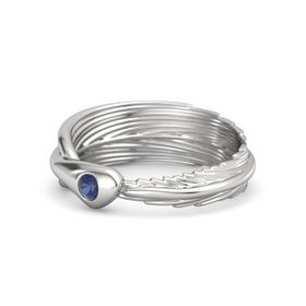 Round Blue Sapphire Sterling Silver Ring