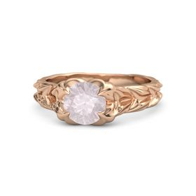 Round Rose Quartz 14K Rose Gold Ring