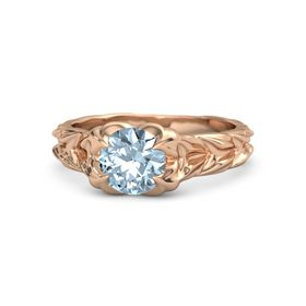 Round Aquamarine 14K Rose Gold Ring