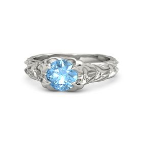 Round Blue Topaz 14K White Gold Ring