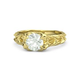 Round Green Amethyst 14K Yellow Gold Ring