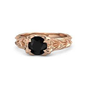 Round Black Onyx 18K Rose Gold Ring