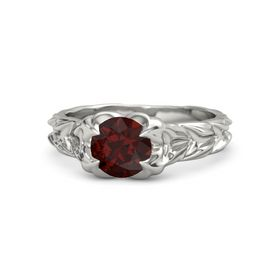 Round Red Garnet 18K White Gold Ring