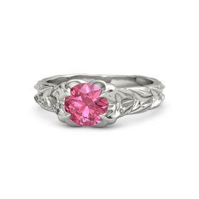 Round Pink Tourmaline 18K White Gold Ring