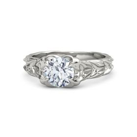 Round Moissanite Palladium Ring