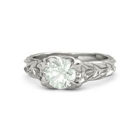 Round Green Amethyst Palladium Ring
