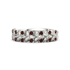 14K White Gold Ring with Red Garnet