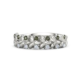 14K White Gold Ring with Green Tourmaline and Diamond
