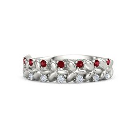 Silver Ruby Wedding Ring Spanish Style