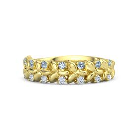 18K Yellow Gold Ring with Blue Topaz and Diamond