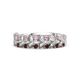 Palladium Ring with Pink Tourmaline and Red Garnet