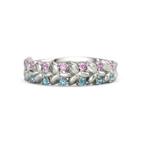 Platinum Ring with Pink Tourmaline and London Blue Topaz
