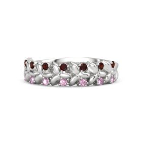 Sterling Silver Ring with Red Garnet and Pink Sapphire