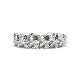 Sterling Silver Ring with Green Tourmaline and Diamond