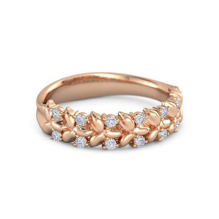 14k Rose Gold Ring With Diamond Laurel Ring Gemvara